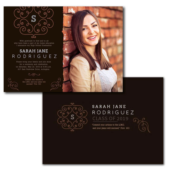 Our double sided brown lace monogram home school graduation photo announcement or invitation.
