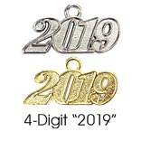 4-digit charm is offered in silver or gold.