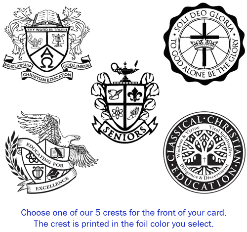 Pictured are the five seal design options yuo can select from to personalize your announcement or invite