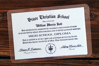 The wallet diploma is an option that may be purchased with your diploma. It cannot be purchased separately.