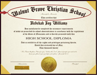 The honors seal is placed in the lower left corner of the diploma.