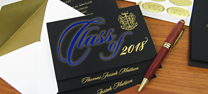 The blue and gold foil colors on the black paper of this card makes a stunning announcement of your graduation!