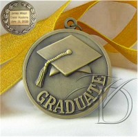 Engraved Graduate Medal with Cap and Tassel, includes neck ribbon