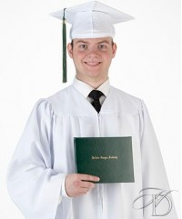 White Matte Cap and Gown Set with optional tassel, for High School graduation