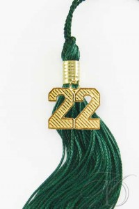 Dark Green Tassel with Gold Date Charm