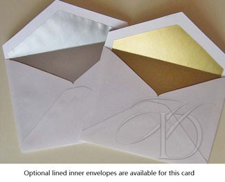 Optional lined inner envelopes are available for this announcement