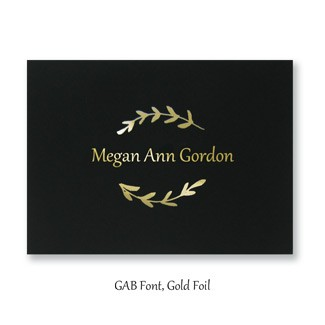 The GAB font in gold foil
