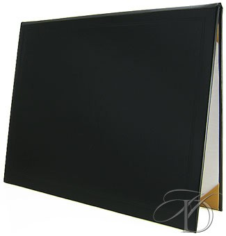 "Plain, Padded Diploma Cover in 8"" x 10"" size has gold ribbons and white silk moire"