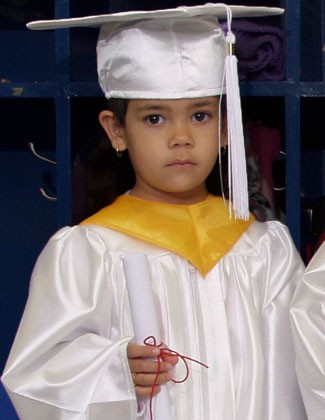 White Kindergarten Cap and Gown Set with Tassel
