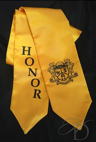 Gold Satin Honor Stole with 'Christian Education' Crest